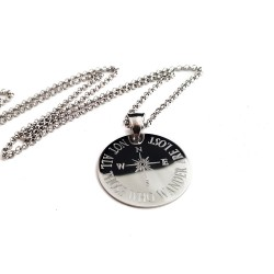 925 Sterling Silver Engraved Compass Necklace