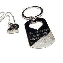 Piece Of My Heart Key Chain Necklace Set