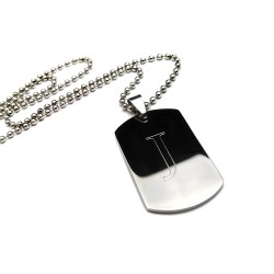 Initial Dog Tag Necklace