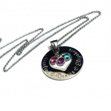 Mother's Heart Birthstone Necklace