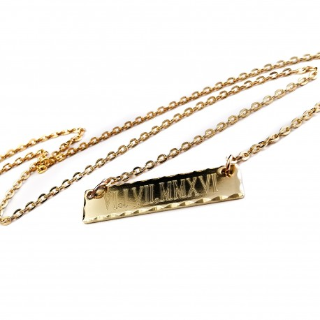 Roman Numeral Anniversary Bar Necklace