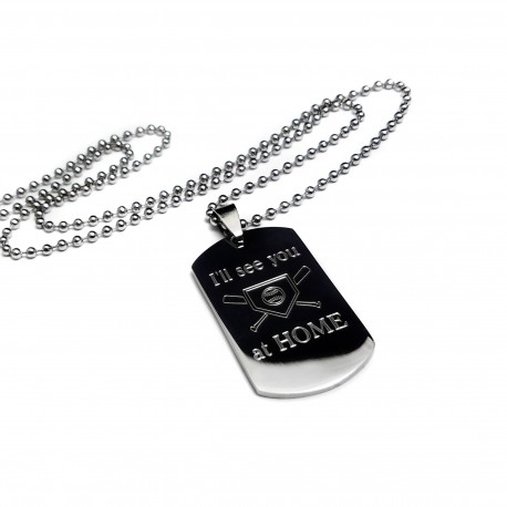 I'll See You At Home Baseball Dog Tag Necklace
