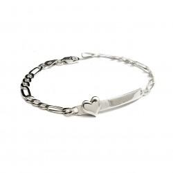 925 Sterling Silver Heart Figaro ID Bracelet