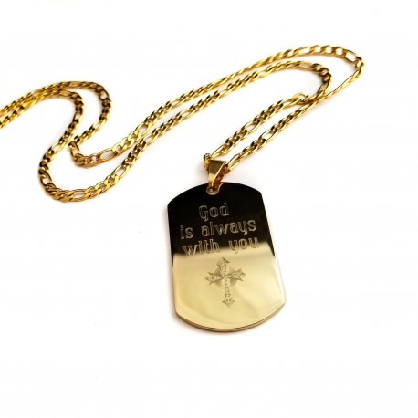 Cross gold steel dog tag
