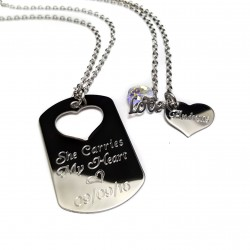 Heart Dog Tag Key Ring Necklace Set