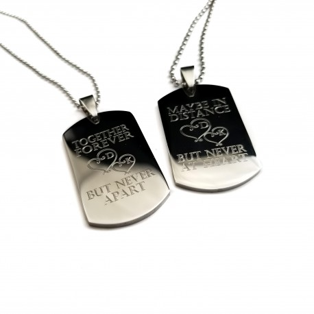 Personalized Couples Quote Dog Tag Set