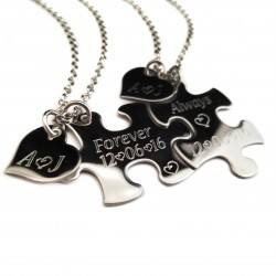 Always and Forever Puzzle Piece Initial Necklace Set
