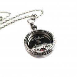 Couples Cubic Zirconia Lock and Key Floating Locket