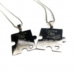 Heart Cut Out Puzzle Piece Dog Tag Set