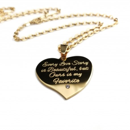 Love Story Crystal Heart Name Necklace