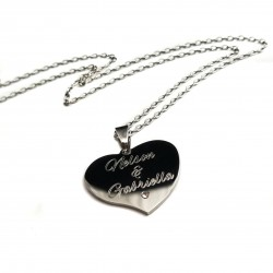 Personalized Crystal Heart Couples Necklace