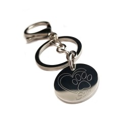 Heart Paw Print  Key Ring