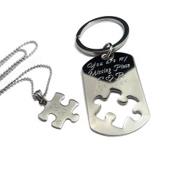 You Are My Missing Piece Puzzle Key Chain Necklace Set