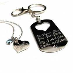 Father Daughter Keychain Necklace Set