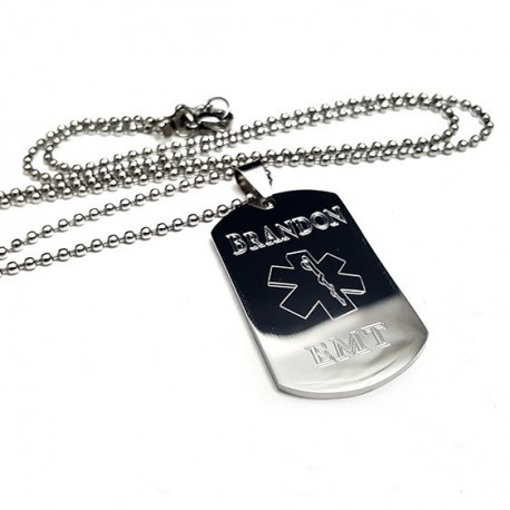 Personalized EMT Dog Tag Necklace