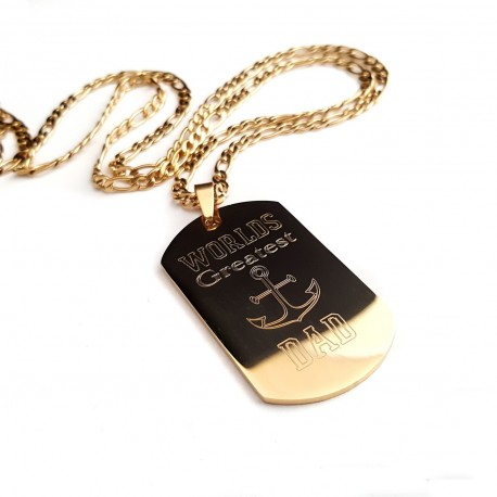 World's Greatest Dad Anchor Dog Tag