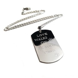 Love Walks On Four Paws Dog Tag Necklace