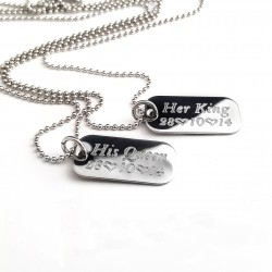 Her King, My Queen Mini Dog Tags Necklace Set
