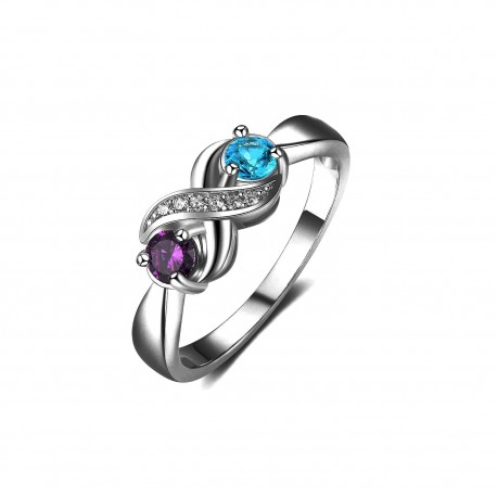 925 Sterling Silver Couples Birthstone Ring