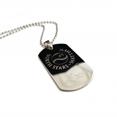 Personalized Baseball Dog Tag Necklace