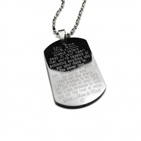 Always Believe Inspirational Son Dog Tag Necklace