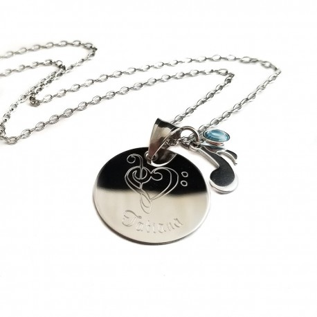 Personalized Treble Clef Heart Necklace