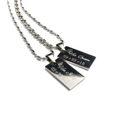 King and Queen Dog Tag Necklace Set