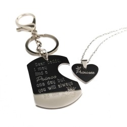 Lock and Key Dog Tag Set