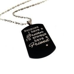 Brother Best Friend Black Dog Tag Necklace