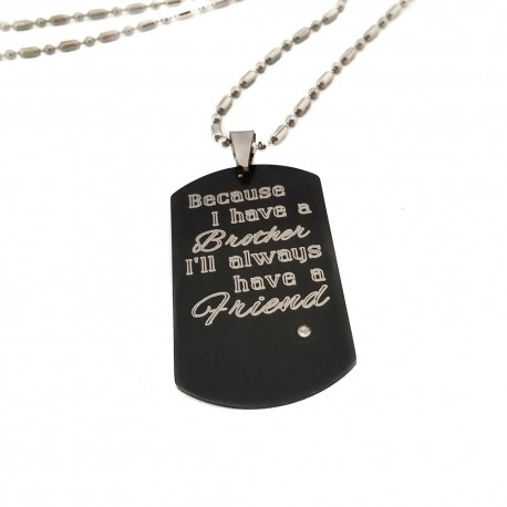 Brother Black Dog Tag Necklace