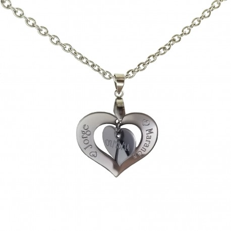 Personalized Couples Double Heart Name Necklace