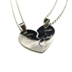 Two Halves Make A Whole Split Heart Necklace