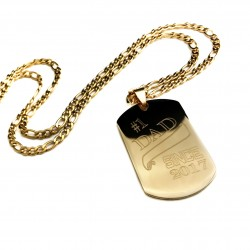 Number One Dad Gold Steel Dog Tag