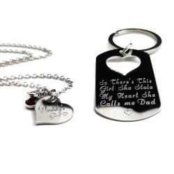 Personalized Father Daughter Keychain Necklace Set