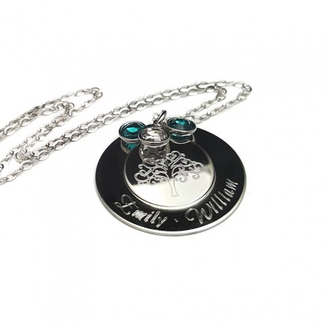 Personalized Tree Of Life Engraved Tier Necklace