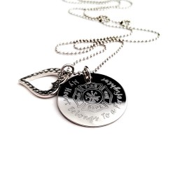 My Heart Belongs To A Firefighter Engraved Necklace