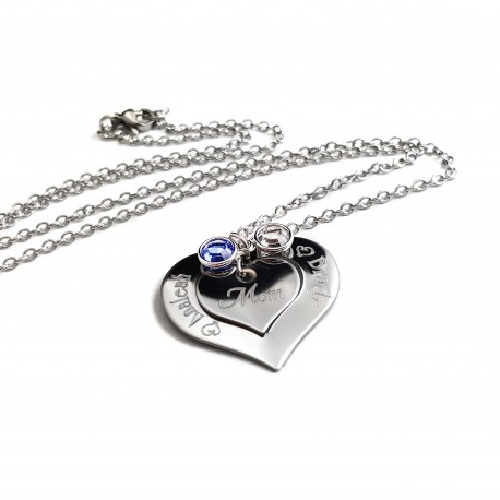 Personalized Mother Child Birthstone Necklace