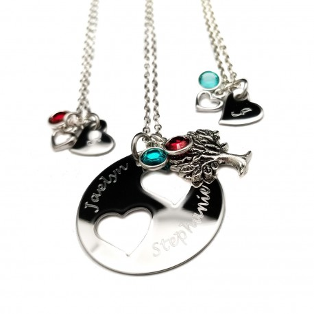 Personalized Mother Daughters Birthstone Necklace Set