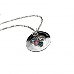 Birthstone Family Name Necklace