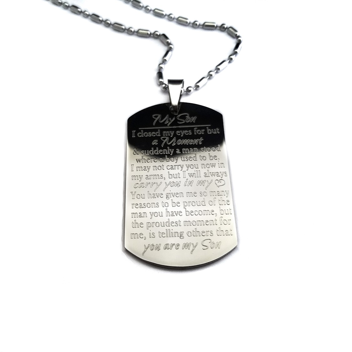 5118a70c805a Proud You Are My Son Dog Tag Necklace - UniqJewelryDesigns