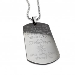 The Best Ships Are Friendships Dog Tag Necklace