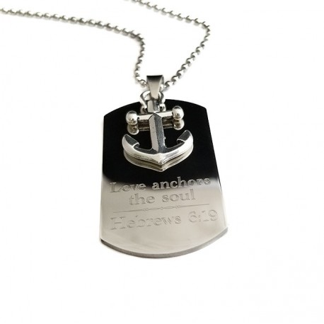 Anchor Dog Tag Necklace