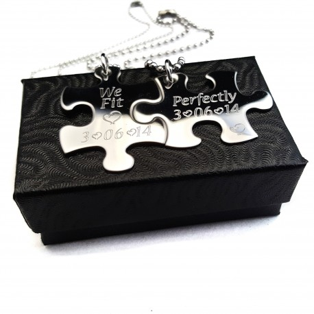We Fit Perfectly Puzzle Piece Necklace Set
