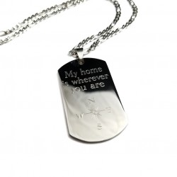 Home Is Wherever You Are Compass Dog Tag Necklace