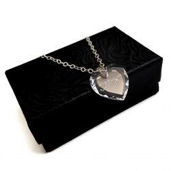 925 Sterling Silver Swarovski Crystal Heart Engraved Necklace