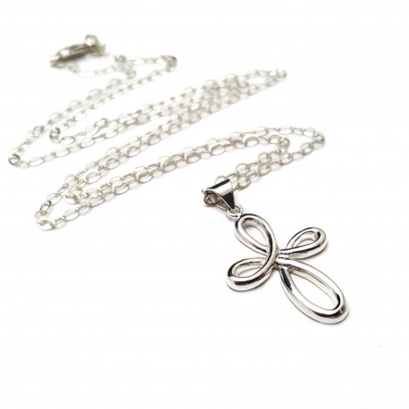 Sterling Silver Infinity Cross Necklace