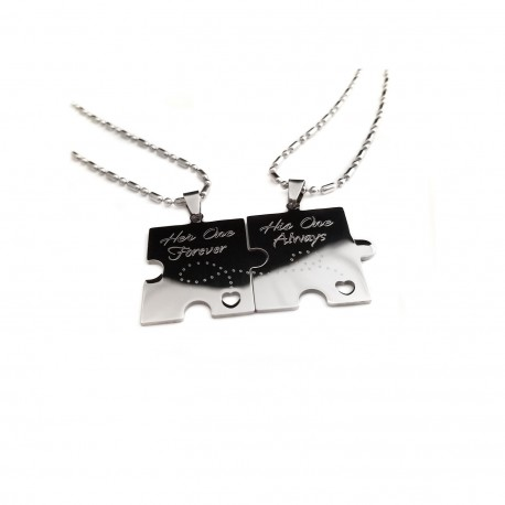 Heart Cut Out Always and Forever Puzzle Piece Dog Tag Set