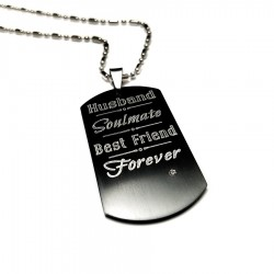 Husband Soulmate Best Friend Black Dog Tag Necklace
