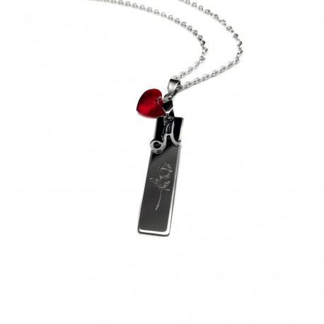 Swarovski Initial Rose Bar Necklace