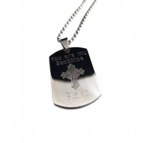 Personalized Son Cross Dog Tag Necklace